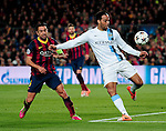 Barcelona. Spain. 12/03/201. football match between fc barcelona and manchester city.<br /> Xavi hernandez and lescott
