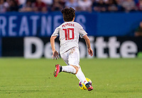FRISCO, TX - MARCH 11: Yuka Momiki #10 of Japan dribbles during a game between Japan and USWNT at Toyota Stadium on March 11, 2020 in Frisco, Texas.