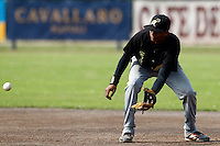 03 September 2011: Roeland JR. Henrique of L&D Amsterdam Pirates eyes the ball during game 1 of the 2011 Holland Series won 5-4 in inning number 14 by L&D Amsterdam Pirates over Vaessen Pioniers, in Hoofddorp, Netherlands.