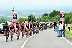 Team Sky and Trek-Segafredo on the front of the peloton during Stage 1 of the Criterium du Dauphine 2017, running 170.5km from Saint Etienne to Saint Etienne, France. 4th June 2017. <br /> Picture: ASO/A.Broadway | Cyclefile<br /> <br /> <br /> All photos usage must carry mandatory copyright credit (&copy; Cyclefile | ASO/A.Broadway)
