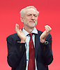 Labour Party Conference <br /> Day 4<br /> 30th September 2015 <br /> Brighton Centre, Brighton, East Sussex <br /> <br /> <br /> Jeremy Corbyn MP<br /> Leader of the Labour Party <br /> at conference closing <br />  <br /> Photograph by Elliott Franks <br /> Image licensed to Elliott Franks Photography Services