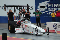 Jan 23, 2009; Chandler, AZ, USA; NHRA top alcohol dragster driver Brittany Force launches off the starting line during testing at the National Time Trials at Firebird International Raceway. Mandatory Credit: Mark J. Rebilas-