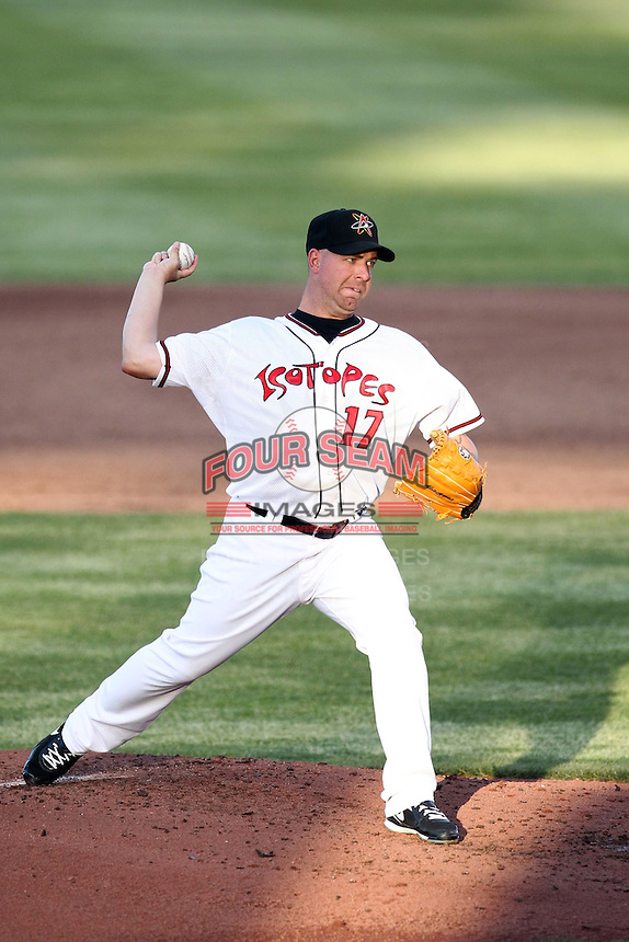 Tim Redding #17 of the Albuquerque Isotopes plays in a Pacific Coast League game against the Omaha Storm Chasers at Isotopes Park on May 4, 2011  in Albuquerque, New Mexico. .Photo by:  Bill Mitchell/Four Seam Images.
