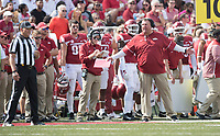 NWA Democrat-Gazette/J.T. WAMPLER Arkansas' coach Bret Bielema questions a referee during the game against TCU Saturday Sept. 9, 2017 at Donald W. Reynolds Razorback Stadium in Fayetteville. Arkansas lost 28-7.