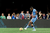 FOXBOROUGH, MA - SEPTEMBER 29: Sebastien Ibeagha #33 of New York City FC passes the ball during a game between New York City FC and New England Revolution at Gillette Stadium on September 29, 2019 in Foxborough, Massachusetts.