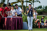 Prize ceremony at the conclusion of the Mission Hills World Celebrity Pro-Am at the Haikou's Mission Hills Resort on October 21, 2012, in China's province of Hainan. Celebrity participants include Oscar-winning actor Adrien Brody, Oscar-nominated actor Andy Garcia, Canadian film and television actor Ryan Reynolds, American actress Minka Kelly and Korea's top male movie star Jeong Woo-Seong. Photo by Xaume Olleros / The Power of Sport Images for Mission Hills