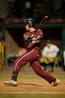 Macon Bacon Austin Deming (11) bats during a Coastal Plain League game against the Savannah Bananas on July 15, 2020 at Grayson Stadium in Savannah, Georgia.  (Mike Janes/Four Seam Images)