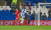 Jaime Penedo of Panama celebrates saving the penalty of Sam Vokes (left) with Felipe Baloy during the International Friendly match between Wales and Panama at the Cardiff City Stadium, Cardiff, Wales on 14 November 2017. Photo by Mark Hawkins.