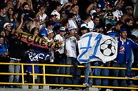 BOGOTÁ - COLOMBIA, 15-01-2019: Hinchas de Millonarios, animan a su equipo, durante partido entre Independiente Santa Fe y Millonarios, por el Torneo Fox Sports 2019, jugado en el estadio Nemesio Camacho El Campin de la ciudad de Bogotá. / Fans America de Cali, cheer for their team during a match between Independiente Santa Fe and Millonarios, for the Fox Sports Tournament 2019, played at the Nemesio Camacho El Campin stadium in the city of Bogota. Photo: VizzorImage / Luis Ramírez / Staff.