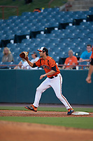 Bowie Baysox first baseman Ryan Ripken (22) stretches for a throw during an Eastern League game against the Richmond Flying Squirrels on August 15, 2019 at Prince George's Stadium in Bowie, Maryland.  Bowie defeated Richmond 4-3.  (Mike Janes/Four Seam Images)