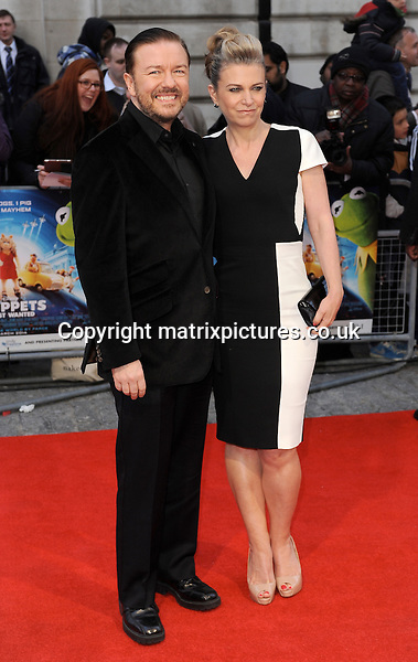 NON EXCLUSIVE PICTURE: PAUL TREADWAY / MATRIXPICTURES.CO.UK<br /> PLEASE CREDIT ALL USES<br /> <br /> WORLD RIGHTS<br /> <br /> English actor Ricky Gervais and his girlfriend, Jane Fallon attending The Muppets Most Wanted VIP film screening, at The Curzon Mayfair in London.<br /> <br /> MARCH 24th 2014<br /> <br /> REF: PTY 141470