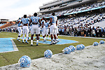 CHAPEL HILL, NC - NOVEMBER 18: UNC players warmup before the game. The University of North Carolina Tar Heels hosted the Western Carolina University Catamounts on November 18, 2017 at Kenan Memorial Stadium in Chapel Hill, NC in a Division I College Football game. UNC won the game 65-10.