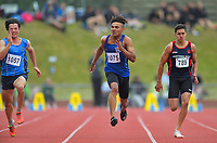 Josh Adegoke (Napier BHS) competes in the senior boys' 100m quarterfinals. 2019 New Zealand Secondary Schools Athletics Championships at Newtown Park in Wellington, New Zealand on Saturday, 7 December 2019. Photo: Dave Lintott / lintottphoto.co.nz