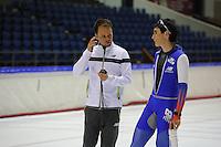 SCHAATSEN: HEERENVEEN: 18-09-2014, IJsstadion Thialf, Topsporttraining, Johan de Wit (trainer Team NewBalance), Shane Williamson (JPN), ©foto Martin de Jong