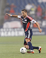 New England Revolution defender Chris Tierney (8) dribbles. In a Major League Soccer (MLS) match, the New England Revolution defeated Chicago Fire, 2-0, at Gillette Stadium on June 2, 2012.