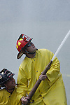 Firefighters spraying water from a hose line