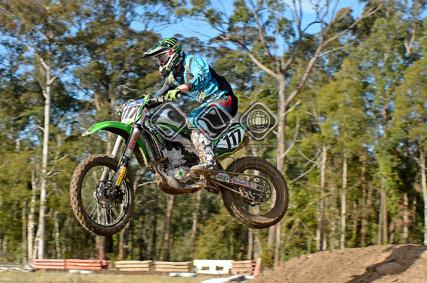 Dylan Long / Kawasaki<br /> MX Nationals / Round 6 / MX1<br /> Australian Motocross Championships<br /> Raymond Terrace NSW<br /> Sunday 5 July 2015<br /> &copy; Sport the library / Jeff Crow