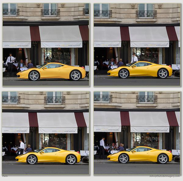 Waiter at French restaurant looking at yellow Ferrari, Paris, France,