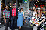 Anwar, Dale Badway, Amy London, Lauri Landry, Jane Elissa are showing off Jane's Luggage at Phantom of Broadway (1607 Broadway). Jane Elissa has her art designs in a gallery at Dr. Cohen's office - 333 W. 52nd Street, New York City, New York for view. Jane donates to Leukemia/Lymphoma Society. (Photo by Sue Coflin/Max Photos)