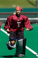 2 September 2004: Sarah Scheller during Stanford's 3-1 loss to Iowa at the varsity field hockey turf in Stanford, CA.