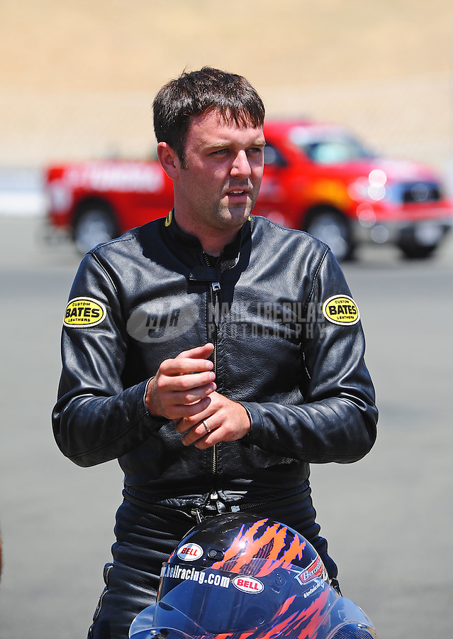 Jul. 17, 2010; Sonoma, CA, USA; NHRA pro stock motorcycle rider G.T. Tonglet during qualifying for the Fram Autolite Nationals at Infineon Raceway. Mandatory Credit: Mark J. Rebilas-