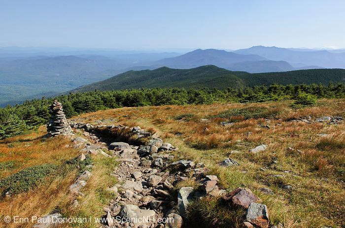 Appalachian Trail - Rock cairn near the summit of Mount Moosilauke during the summer months in the White Mountains, New Hampshire USA