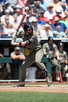 Vanderbilt Commodores first baseman Julian Infante (22) at bat during Game 3 of the NCAA College World Series against the Louisville Cardinals on June 16, 2019 at TD Ameritrade Park in Omaha, Nebraska. Vanderbilt defeated Louisville 3-1. (Andrew Woolley/Four Seam Images)