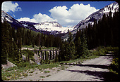 View of Trout Lake trestle and old RGS R.R. bed.<br /> RGS  Trout Lake, CO