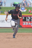 Nashville Sounds Chad Pinder (11) runs to third base during the Pacific Coast League game against the Omaha Storm Chasers at Werner Park on June 5, 2016 in Omaha, Nebraska.  Omaha won 6-4.  (Dennis Hubbard/Four Seam Images)