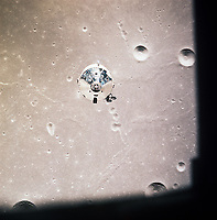 The CSM as seen from the LEM just before it starts to descend, July 20, 1969