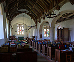 Interior of church of All Saints, Great Glemham, Suffolk, England, UK