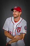 22 February 2019: Washington Nationals pitcher Max Scherzer poses for his Photo Day portrait at the Ballpark of the Palm Beaches in West Palm Beach, Florida. Mandatory Credit: Ed Wolfstein Photo *** RAW (NEF) Image File Available ***