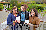 Victoria Kennefick of the Kerry Women Writers' Network handed over funds raised at the launch of the network to Caroline Fennell of Kerry Rape Crisis Centre and Lesley Collins of Tralee Women's Resource Centre.
