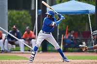 GCL Mets Federico Polanco (44) at bat during a Gulf Coast League game against the GCL Astros on August 10, 2019 at FITTEAM Ballpark of the Palm Beaches Training Complex in Palm Beach, Florida.  GCL Astros defeated the GCL Mets 8-6.  (Mike Janes/Four Seam Images)