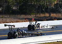 Mar 19, 2017; Gainesville , FL, USA; NHRA top alcohol dragster driver Robin Samsel (near) alongside Justin Ashley during the Gatornationals at Gainesville Raceway. Mandatory Credit: Mark J. Rebilas-USA TODAY Sports