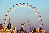 London's landmark contruction, the British Airways London Eye, seen over the rooftops of Whitehall.