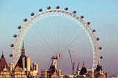 London's landmark contruction, the British Airways London Eye, seen over the rooftops of Whitehall.