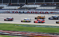 Oct 3, 2008; Talladega, AL, USA; NASCAR Sprint Cup Series driver Carl Edwards (99) leads a pack of drivers during practice for the Amp Energy 500 at the Talladega Superspeedway. Mandatory Credit: Mark J. Rebilas-