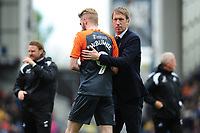 Oli McBurnie and Graham Potter Manager of Swansea City at full time during the Sky Bet Championship match between Blackburn Rovers and Swansea City at Ewood Park in Blackburn, England, UK. Sunday 5th May 2019
