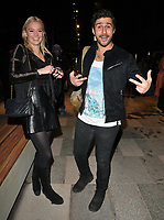 Alik Alfus and guest at the Bluebird Cafe launch party, Bluebird Cafe, Television Centre White City, Wood Lane, London, England, UK, on Tuesday 10 April 2018.<br /> CAP/CAN<br /> &copy;CAN/Capital Pictures