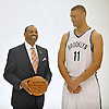 Brooklyn Nets Head Coach Lionel Hollins and No. 11 Brook Lopez have a laugh in between portraits during Media Day held at the team's practice center in East Rutherford, New Jersey on Monday, September 28, 2015.<br /> <br /> James Escher