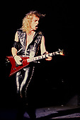 JUDAS PRIEST - KK Downing - performing live on the Mercenaries of Metal Tour at the Odeon Hammersmith in London UK - 13 Jun 1988.  Photo credit: