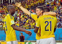 CUIABA - BRASIL -24-06-2014. James Rodriguez (#10), Jackson Martinez (#21) y Adrian Ramos (#19) jugadores de Colombia (COL) celebran un gol anotado a Japón (JPN) durante partido del Grupo C de la Copa Mundial de la FIFA Brasil 2014 jugado en el estadio Arena Pantanal de Cuiaba./ James Rodriguez (#10), Jackson Martinez (#21) and Adrian Ramos (#19) players of Colombia (COL) celebrate a goal scored to Japan (JPN) during the macth of the Group C of the 2014 FIFA World Cup Brazil played at Arena Pantanal stadium in Cuiaba. Photo: VizzorImage / Alfredo Gutiérrez / Contribuidor