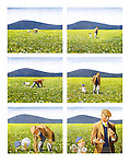 (Young girl picking flowers in field, old man picking up golf balls)