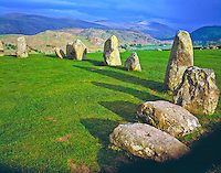 Castlerigg Stone Circle Lake District National Park, England Neolithic standing stones Mountains of Lake District beyond  May