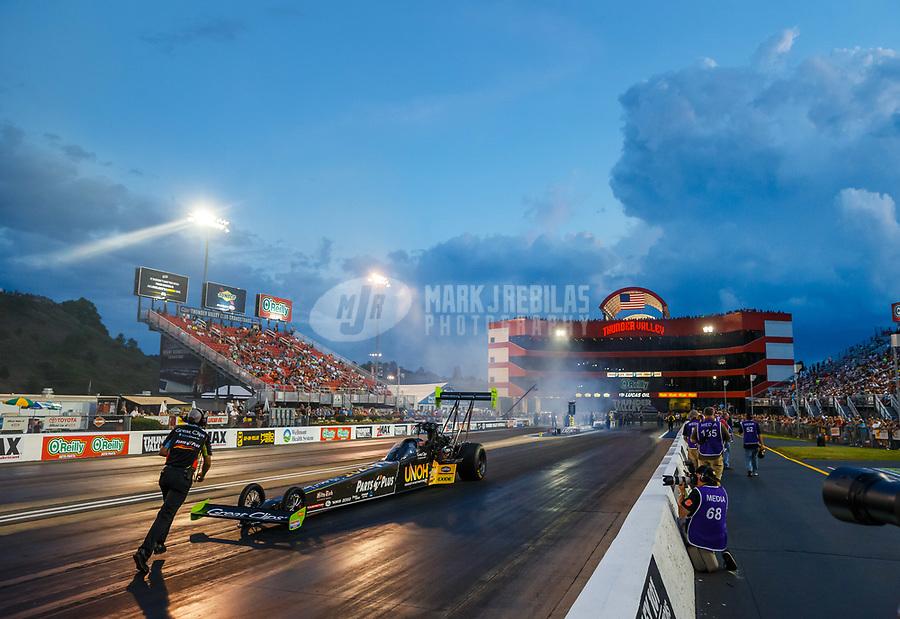 Jun 16, 2017; Bristol, TN, USA; NHRA top fuel driver Clay Millican during qualifying for the Thunder Valley Nationals at Bristol Dragway. Mandatory Credit: Mark J. Rebilas-USA TODAY Sports