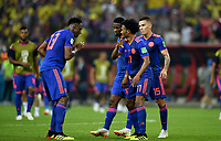 KAZAN - RUSIA, 24-06-2018: Jugadores de Colombia celebran después de anotar el tercer gol a Polonia durante partido de la primera fase, Grupo H, por la Copa Mundial de la FIFA Rusia 2018 jugado en el estadio Kazan Arena en Kazán, Rusia. /  Players of Colombia celebrate after scoring the third goal to Polonia during match of the first phase, Group H, for the FIFA World Cup Russia 2018 played at Kazan Arena stadium in Kazan, Russia. Photo: VizzorImage / Julian Medina / Cont