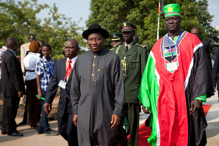 Saturday 9 july 2011 - Juba, Republic of South Sudan - Nigerian President Goodluck Jonathan arrives at Juba airport for the Independence Day celebrations in South Sudan's capital Juba. Photo credit: Benedicte Desrus