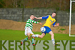 Listowel Celtic's Kevin McCarthy and Clasic FC's Alan O'Shea in action in the Munster junior cup at Mounthawk park, Tralee on Sunday.