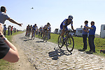 The peloton including Matteo Trentin (ITA) Quick-Step Floors and Andre Greipel (GER) Lotto-Soudal on pave sector 17 Hornaing a Windignies during the 115th edition of the Paris-Roubaix 2017 race running 257km Compiegne to Roubaix, France. 9th April 2017.<br /> Picture: Eoin Clarke | Cyclefile<br /> <br /> <br /> All photos usage must carry mandatory copyright credit (&copy; Cyclefile | Eoin Clarke)